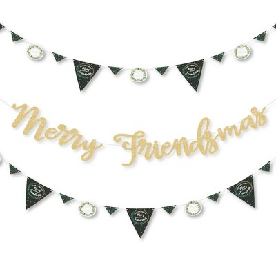 Big Dot of Happiness Rustic Merry Friendsmas - Christmas Party Letter Banner Decor - 36 Cutouts & No-Mess Real Gold Glitter Merry Friendsmas Letters