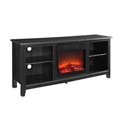 "Black Wood TV Stand with Fireplace 58"" - Saracina Home"