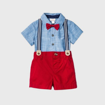 Baby Boys' 3pc Chambray Top & Bottom Set with Bow Tie - Cat & Jack™ Blue/Red 3-6M