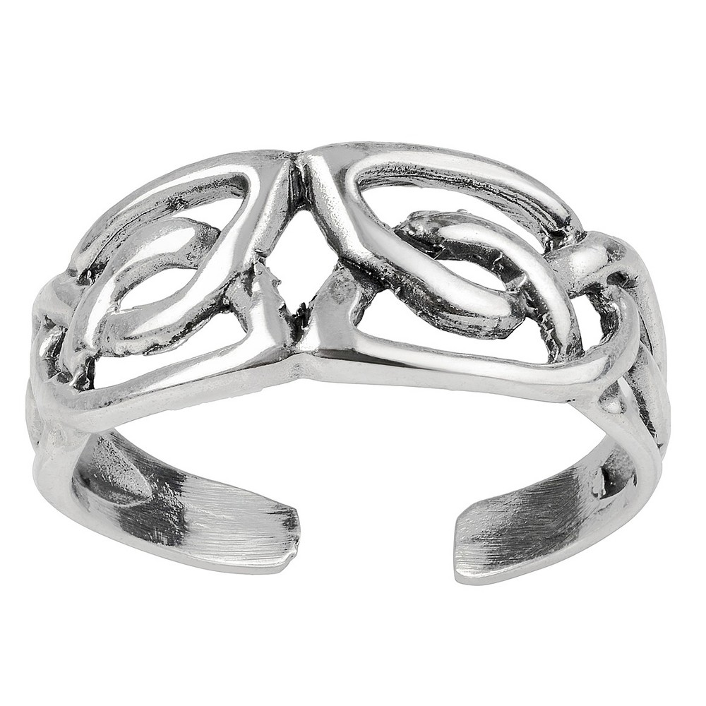Women's Journee Collection Sterling Silver Celtic Angled Adjustable Toe Ring - Silver