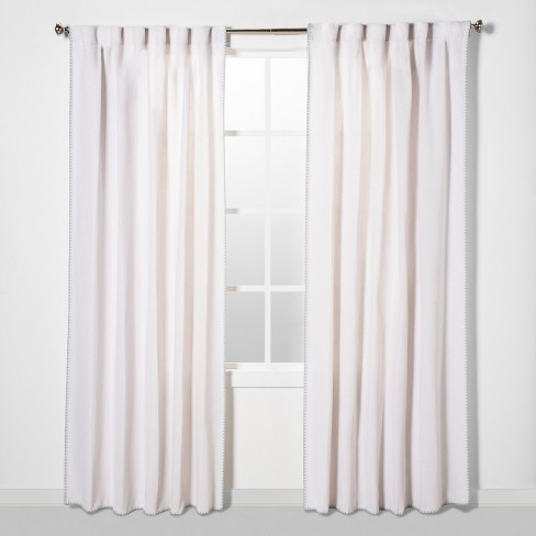 """54""""x108"""" Stitched Edge Curtain Panel Natural White - Threshold™ - image 1 of 4"""
