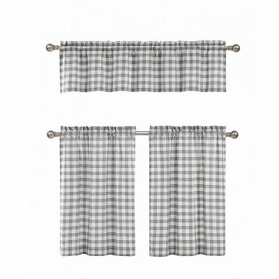 GoodGram Gray & White Cotton Blend Gingham Tartan Country Plaid Kitchen Curtain Set - 58 in. W x 15 in. L