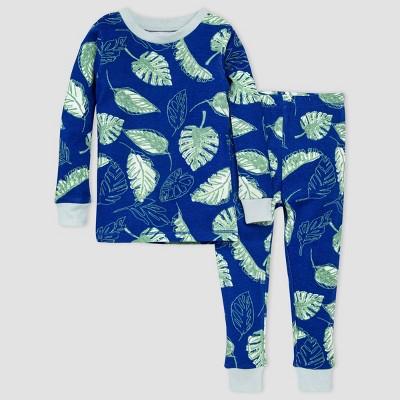 Burt's Bees Baby® Boys' 2pc Jungle Leaves Pajama Set - Blue