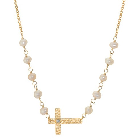 Gold Plated Sterling Silver Cross Necklace - Gold - image 1 of 2