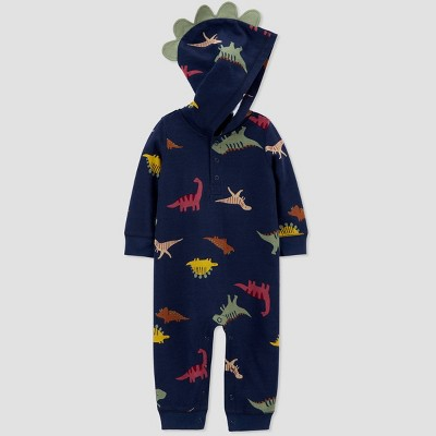 Baby Boys' Dino Jersey Hood Romper - Just One You® made by carter's Blue 6M