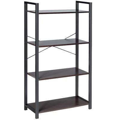 Costway 4-Tier Bookshelf Industrial Bookcase Diaplay Shelf Storage Rack Rustic Brown\Black
