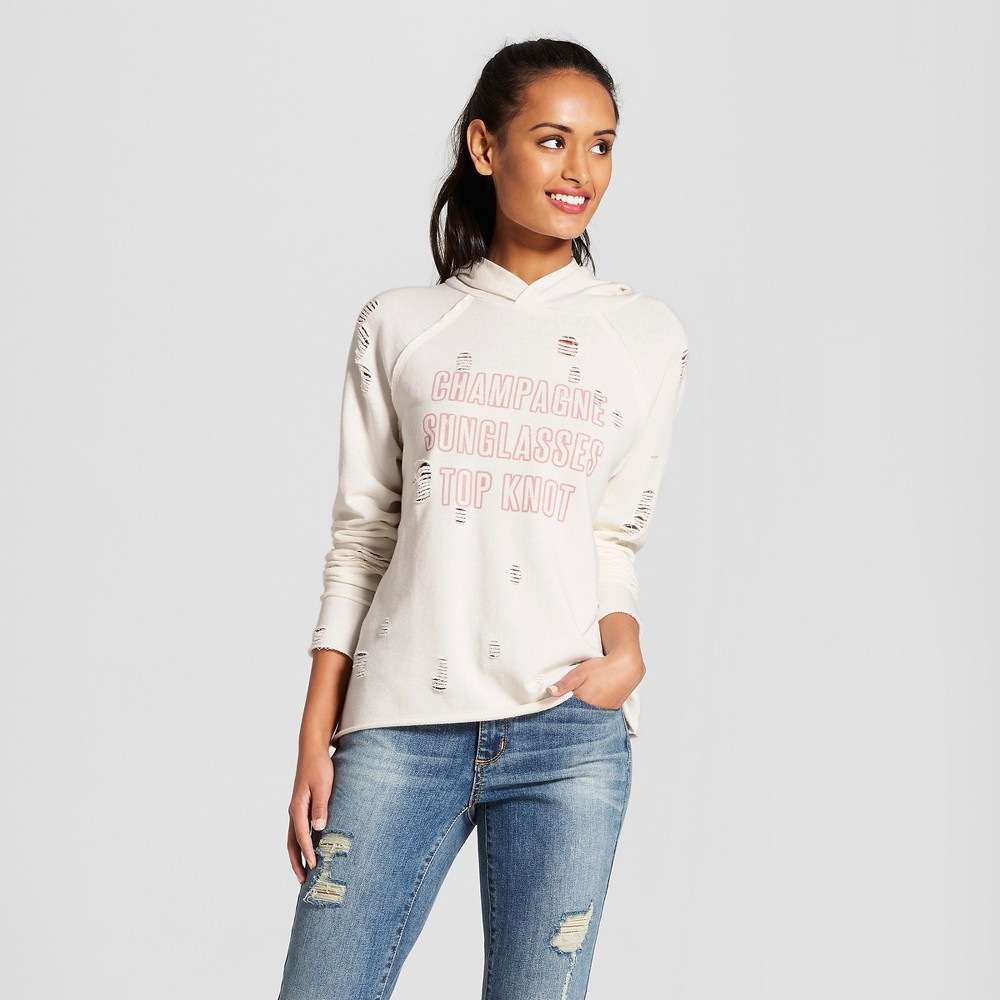 Women's Champagne, Sunglasses, Top Knot Hooded Pullover Distressed Graphic Sweatshirt - Grayson Threads White S, Beige