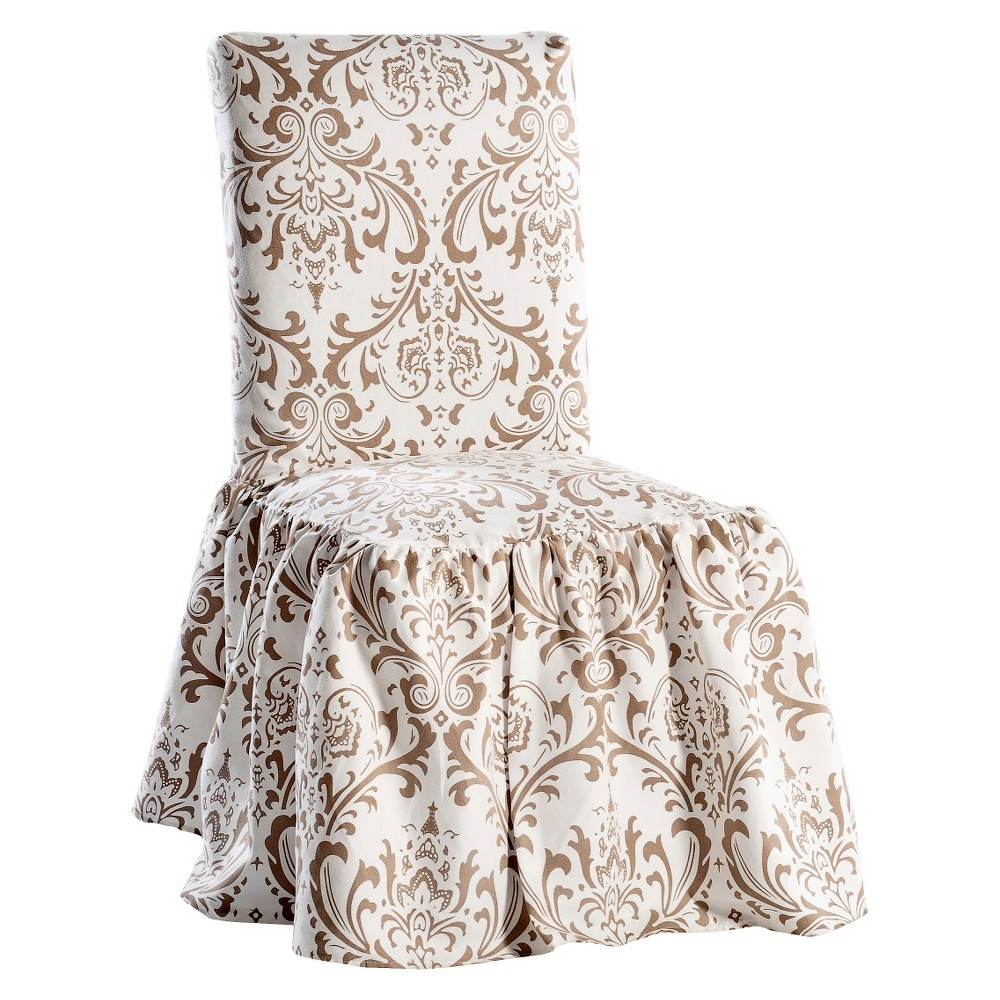 Image of Brown/White Damask Dining Chair Slipcover