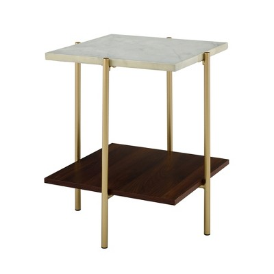 "20"" Dual Shelf Glam Square Side Cocktail Table Faux Marble/Gold - Saracina Home"