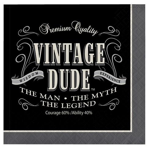 16ct Vintage Dude Cocktail Beverage Napkins Target