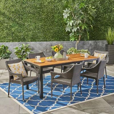 7pc Tudor Acacia & Wicker Wood Patio Dining Set Teak - Christopher Knight Home