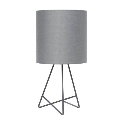 Down To The Wire Table Lamp with Fabric Shade Gray - Simple Designs