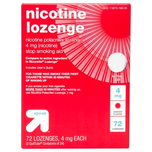 Nicotine 4mg Lozenge Stop Smoking Aid - Sugar Free Cherry - 72ct - Up&Up™ (Compare to active ingredient in Nicorette Lozenge) - image 1 of 3