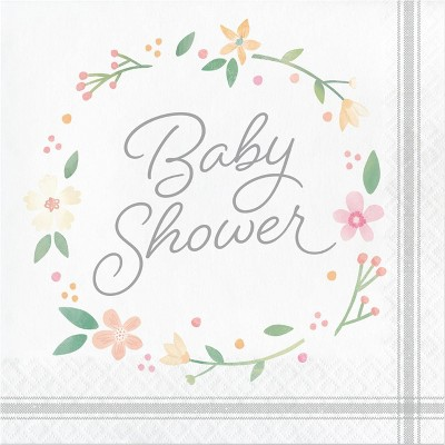 48ct Country Floral Baby Shower Bottle Napkins