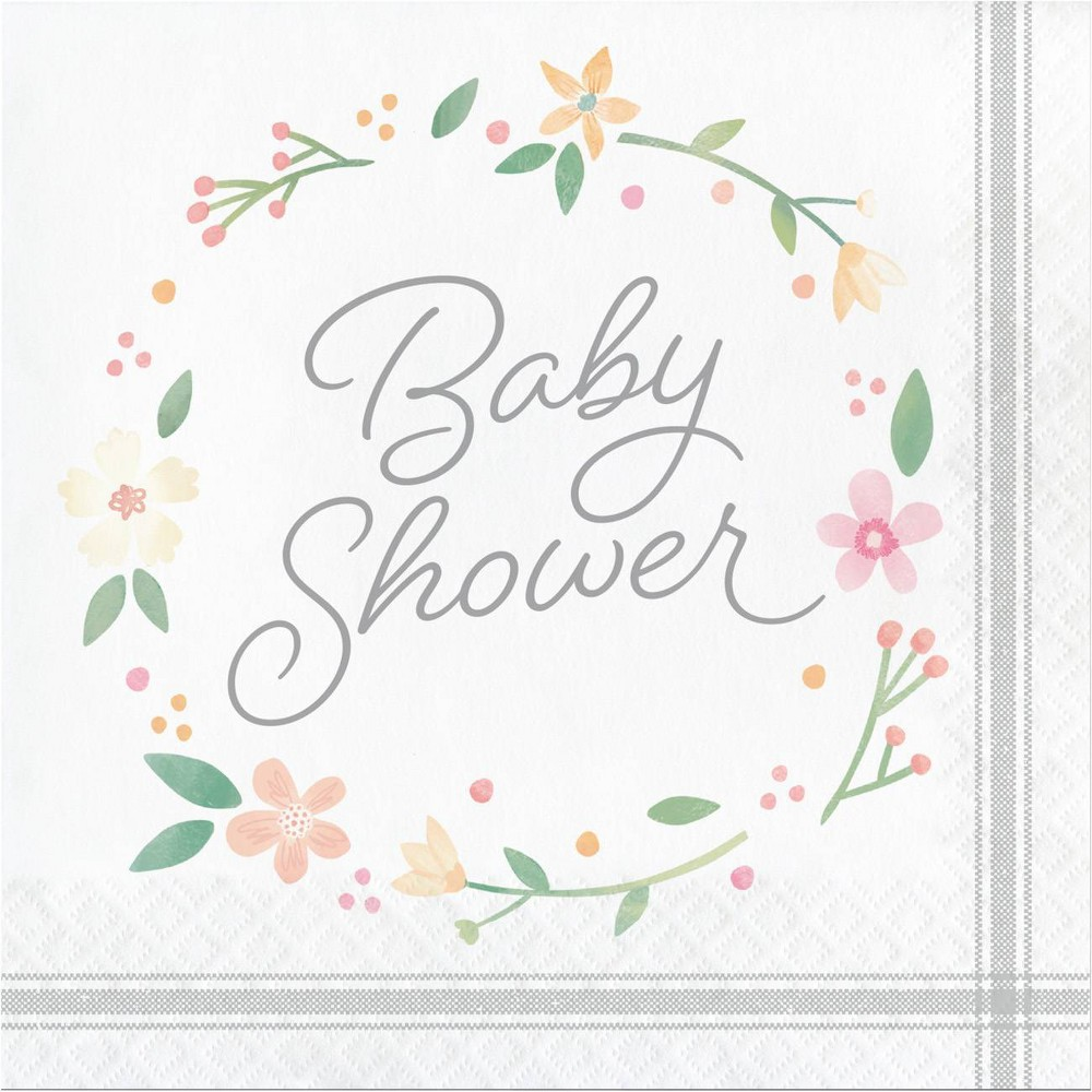 Image of 48ct Country Floral Baby Shower Bottle Napkins