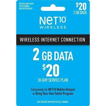 NET10 $20 Mobile Hotspot (2GB) Data Plan - (Email Delivery)