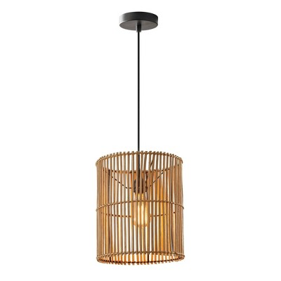 """12"""" Large Cabana Collection Pendant Ceiling Light Black - Adesso"""
