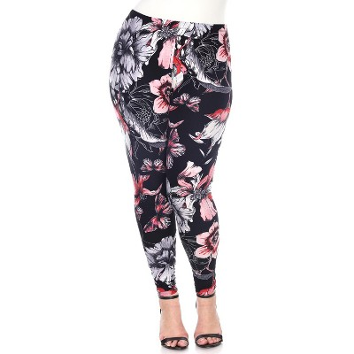Women's Plus Size Printed Leggings - One Size Fits Most Plus - White Mark