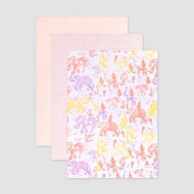 Burt's Bees Baby® Baby Girls' 3pk Organic Cotton Elephants Burp Cloth Set - Pink
