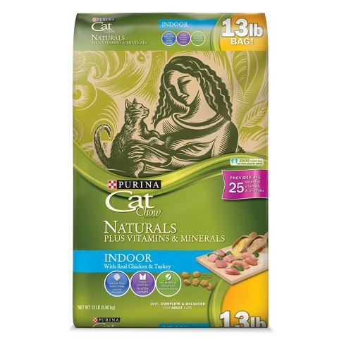 Purina® Cat Chow® Indoor Naturals Real Chicken & Turkey Dry Cat Food - 13lbs : Target