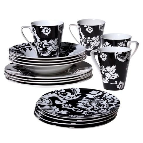 Damask Stoneware 16pc Dinnerware Set Blackwhite Coventry Target