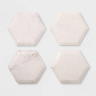 4pk Marble Hexagonal Coasters Natural - Threshold™