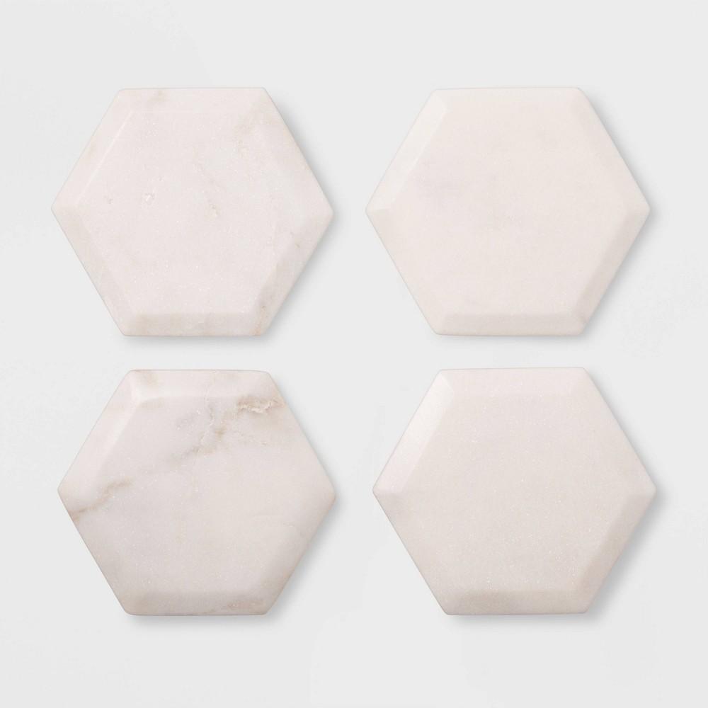 Image of 4pk Marble Hexagonal Coasters Natural - Threshold , White