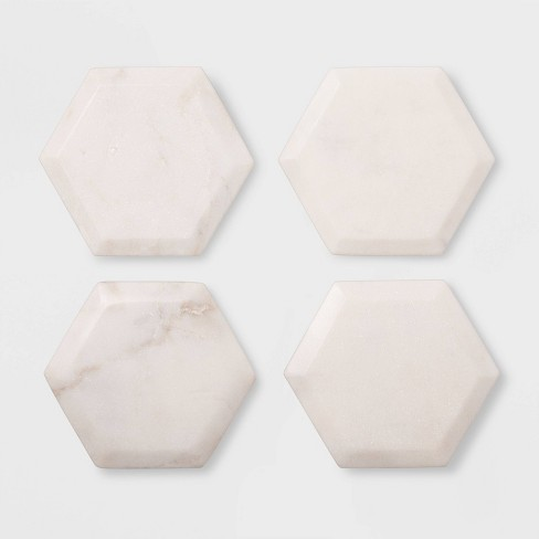 4pk Marble Hexagonal Coasters Natural - Threshold™ - image 1 of 1