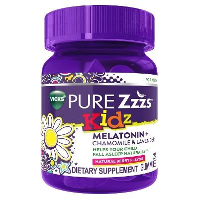 Vicks PURE Zzzs Kidz Gummies - Melatonin + Chamomile & Lavender - Berry - 24ct