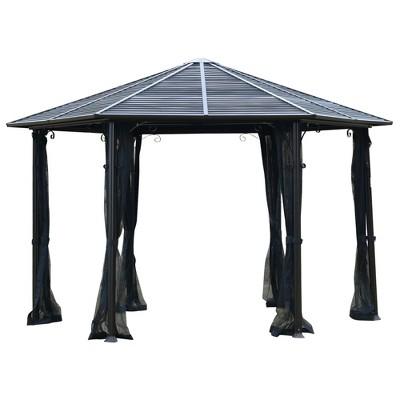 Outsunny 13' x 13' Hardtop Hexagonal Gazebo Canopy with Steel Roof, Heavy-Duty Aluminum Alloy Frame & Ventilating Mesh Sidewalls