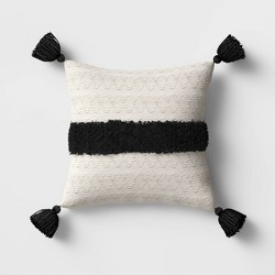 Outdoor Tasseled Throw Pillow Black/White - Opalhouse™