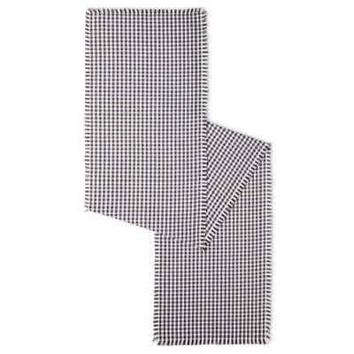 "18"" x 13"" Cotton Gingham Fringe Table Runner Gray - Town & Country Living"