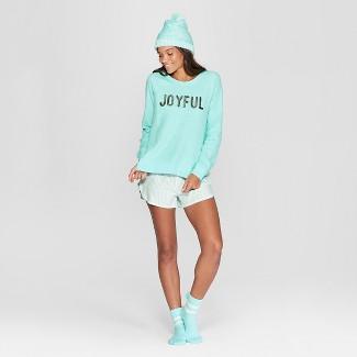 Women's Striped Joyful 4pc Pajama Set - Xhilaration™ Blue M