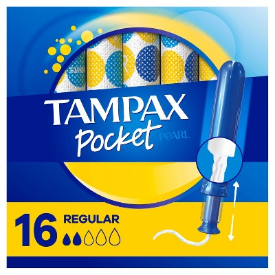 Tampax Pocket Pearl Regular Absorbency with LeakGuard Braid & Unscented Plastic Tampons