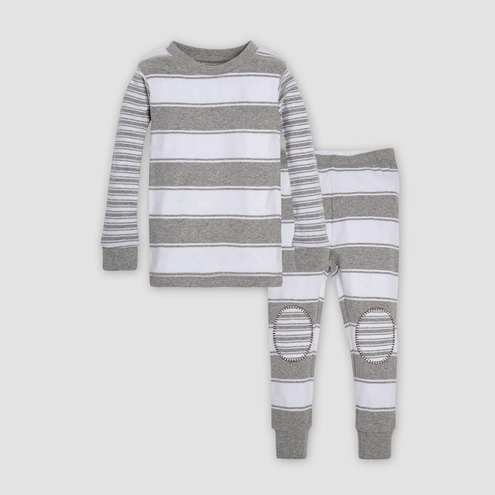 Burt's Bees Baby Toddler Mixed Peace Stripe Organic Cotton Pajama Set - Heather Gray 3T, Toddler Unisex