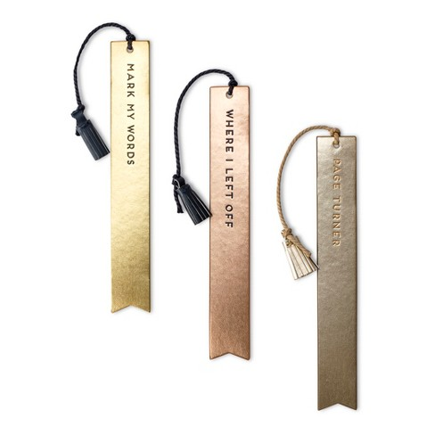 Dabney Lee Bookmarks - Set of 3 Faux Leather Tassel Bookmarks with Sayings - image 1 of 3