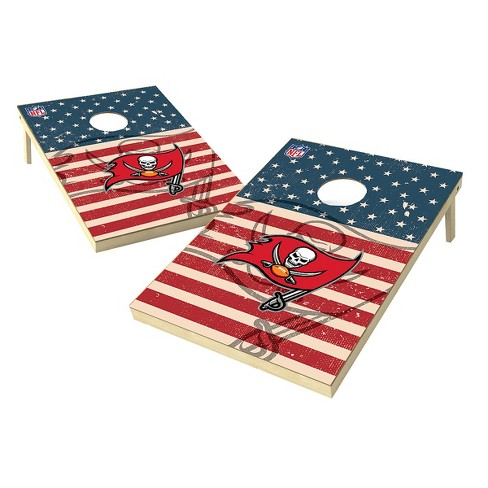 NFL Tampa Bay Buccaneers Wild Sports Worn Shadow Stars and Stripes 2x3ft. Cornhole Bean Bag Toss Set - image 1 of 3
