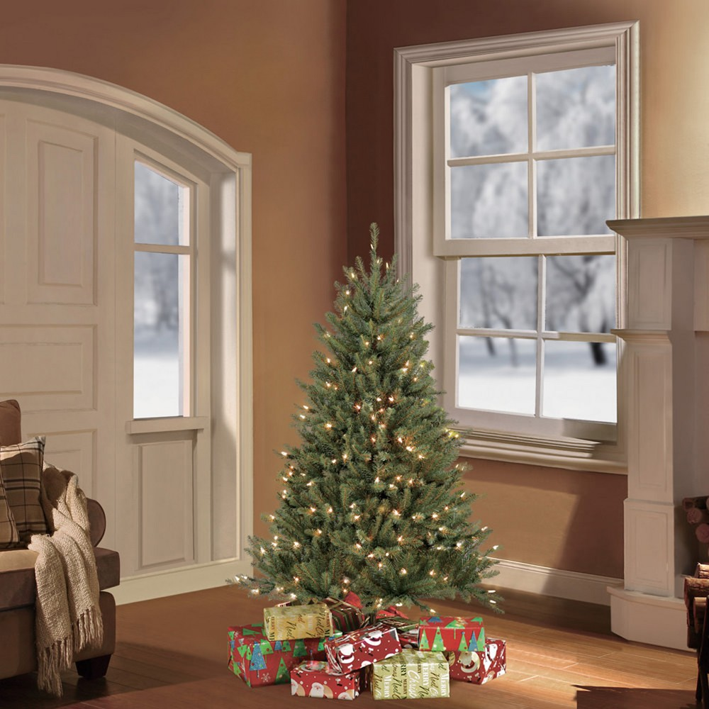 Image of 4.5ft Pre-lit Artificial Christmas Tree Forest Fir