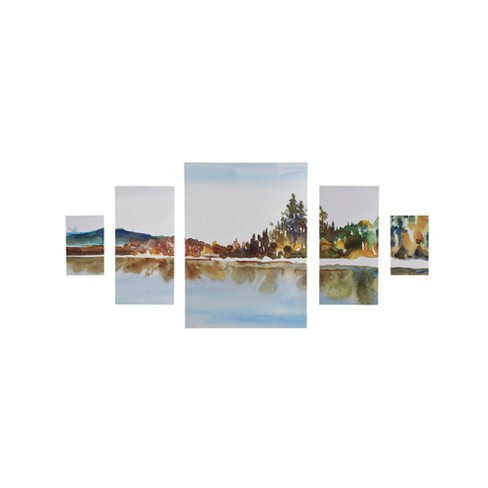 My Retreat Gel Coat Canvas 5pc Decorative Wall Art Set Blue - image 1 of 6