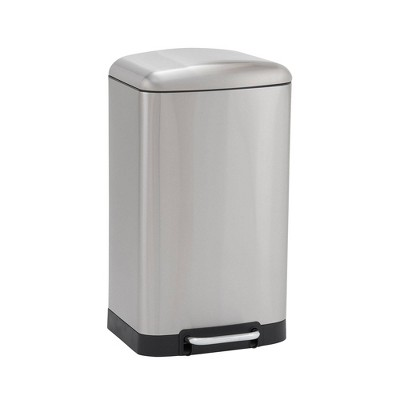 Household Essentials 40L Rectangle Design Trend Step Trash Can Stainless Steel
