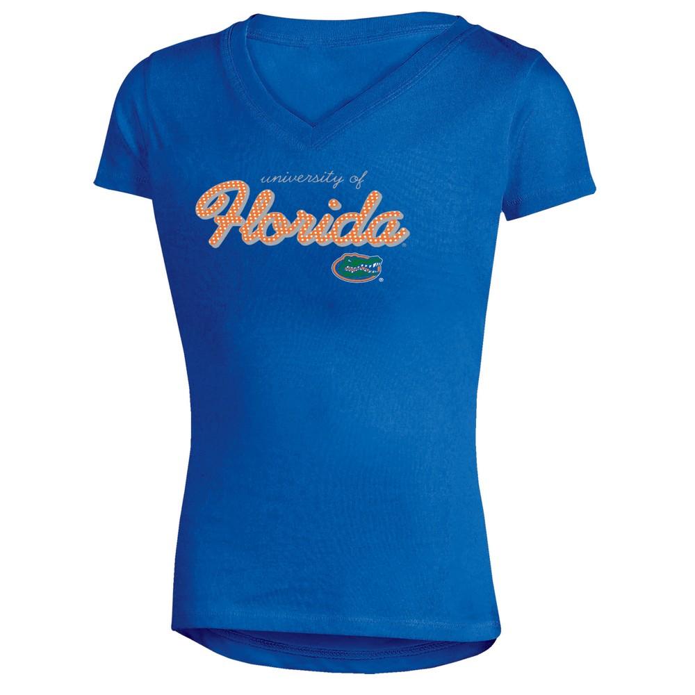 Florida Gators Girls' Short Sleeve Bright Lights V-Neck T-Shirt M, Multicolored