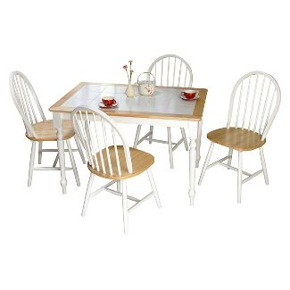 Tara Tile Top Dining Set White/Natural 5 Piece - TMS