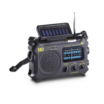 HQ Issue Multi Band Dynamo Crank/Solar Panel/Battery Powered Emergency NOAA Weather Radio with LED Flashlight, Reading Lamp, and SOS Light, Black