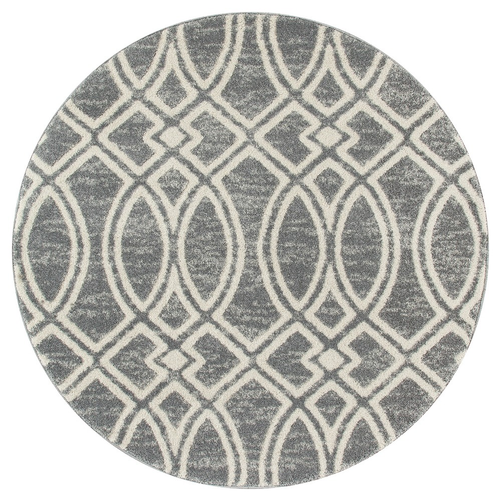 Image of Gray Abstract Woven Area Rug - (5') - Art Carpet