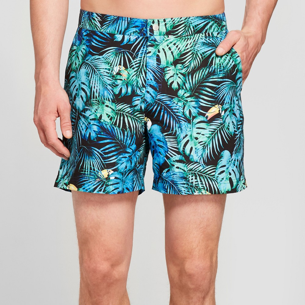 Men's 6 Toucan Can Snap Swim Trunks - Goodfellow & Co Green Bird 30