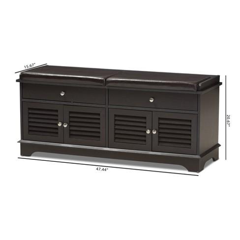 Leo Modern And Contemporary Wood 2 Drawer Shoe Storage Bench Dark Brown Baxton Studio Target