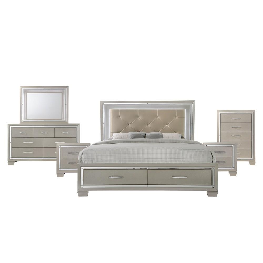 6pc Glamour King Platform Storage Bedroom Set Champagne - Picket House Furnishings, Beige