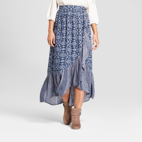 b1f043ddc Women's Faux Wrap Printed Ruffle Hem Pull On Maxi Skirt - Knox Rose™ Slate  Blue M