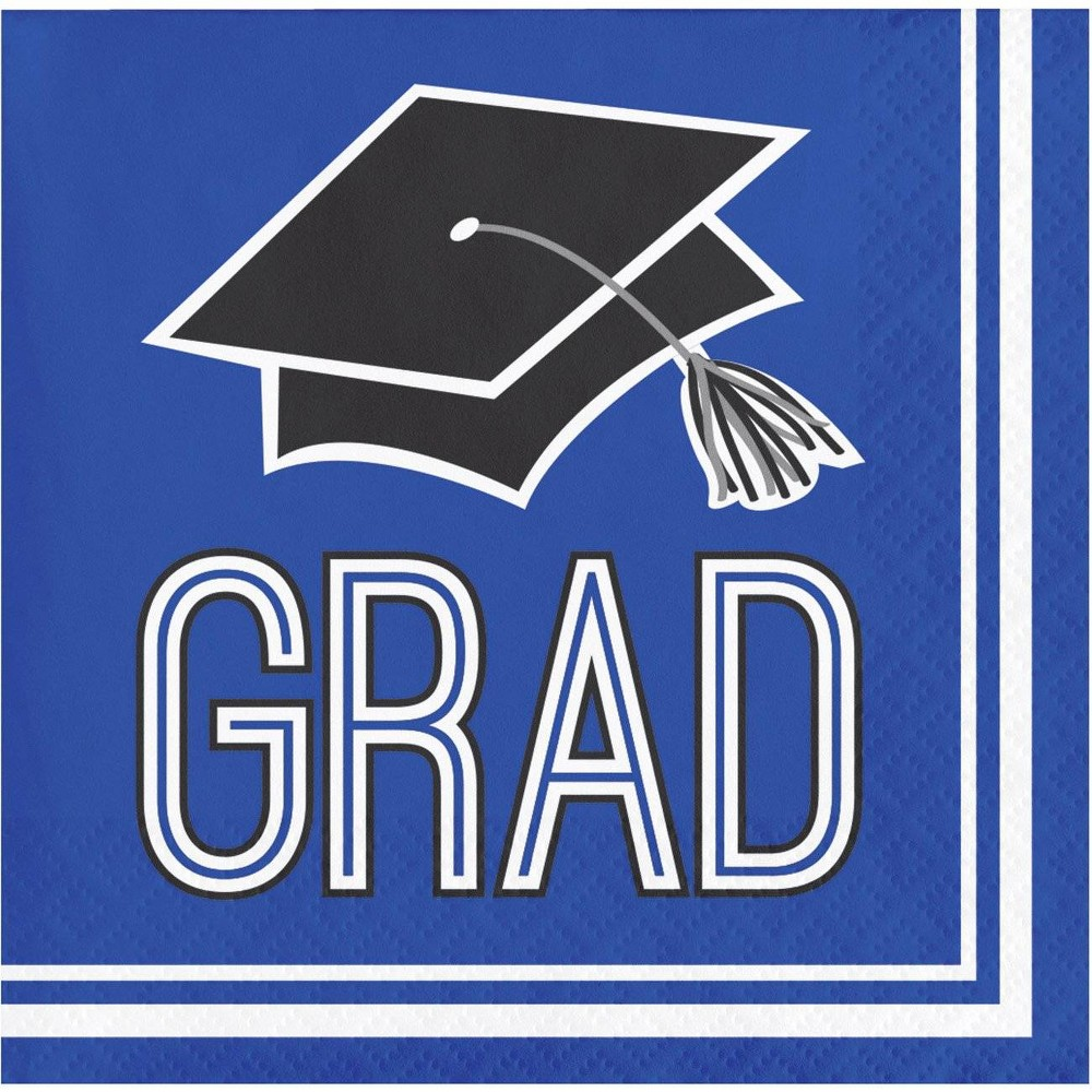 Image of 108ct Graduation School Spirit Disposable Beverage Napkins Blue