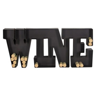 Metal Wall Wine Cork Holder - Black